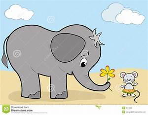 Baby elephant and mouse stock vector. Image of gift ...
