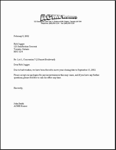 homes sample document delay letter