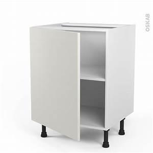 Meuble Bas Cuisine Blanc : meuble de cuisine bas ginko blanc 1 porte l60 x h70 x p58 ~ Teatrodelosmanantiales.com Idées de Décoration