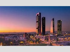 madrid city skyline timelapse from day to night aerial