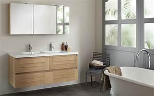 meubles salle de bains en chene massif lignum espace With meuble salle de bain bois suspendu