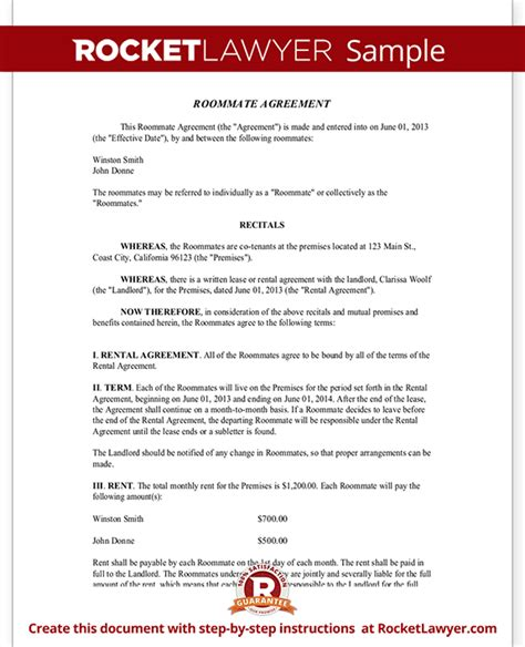 roommate agreement template roommate contract room rental agreement rocket lawyer
