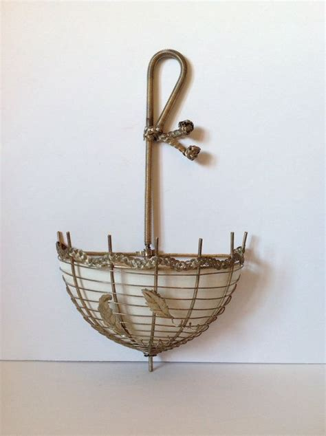 vintage parasol planter wall hanging wire ceramic by tilso