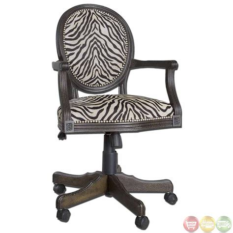 animal print desk chair zebra print solid mahogany wood frame swivel office desk