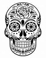 Coloring Skull Sugar Dead Printable Halloween sketch template