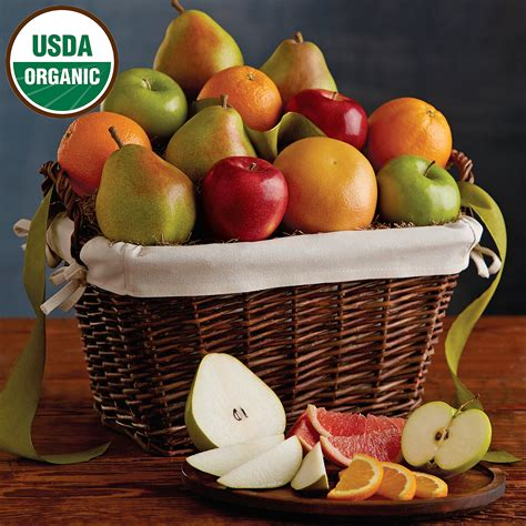 organic gift baskets organic fruit gift basket pears oranges and more