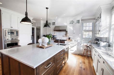 polished white carrera marble transitional kitchen