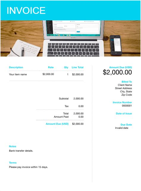 blank invoice template    paid easily