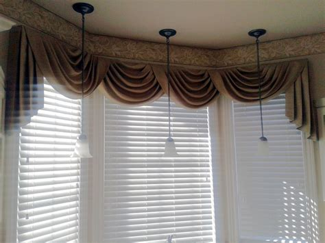 Swag Curains Over White Wood Blinds In Kitchen Area