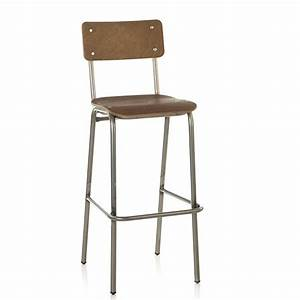 Chaise De Bar Haute : chaise haute de bar d 39 esprit vintage bois teinte bois formica ou imprime cbc 1099 one mobilier ~ Teatrodelosmanantiales.com Idées de Décoration