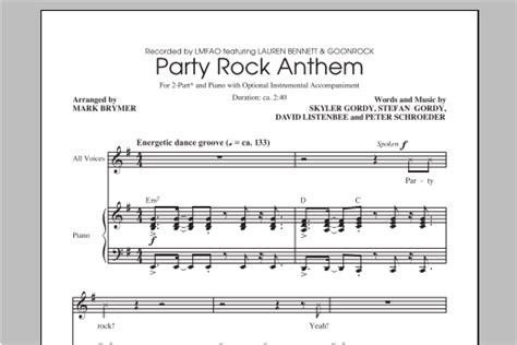 party rock anthem sheet music direct