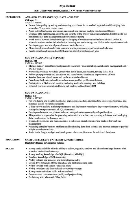 Sql Analyst Resume by Sql Data Analyst Resume Sles Velvet