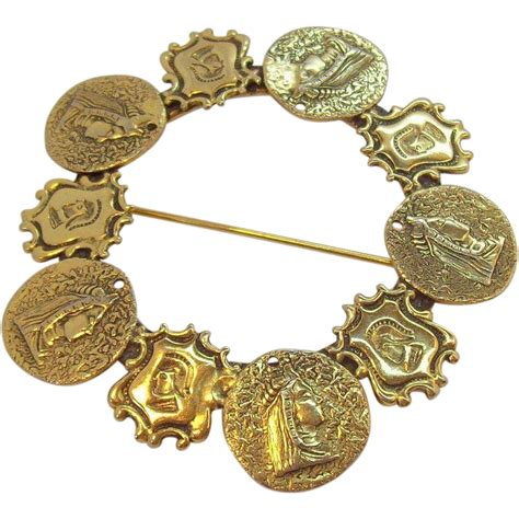 Vintage Freirich Goldtone Royal Regal Heraldic Symbols