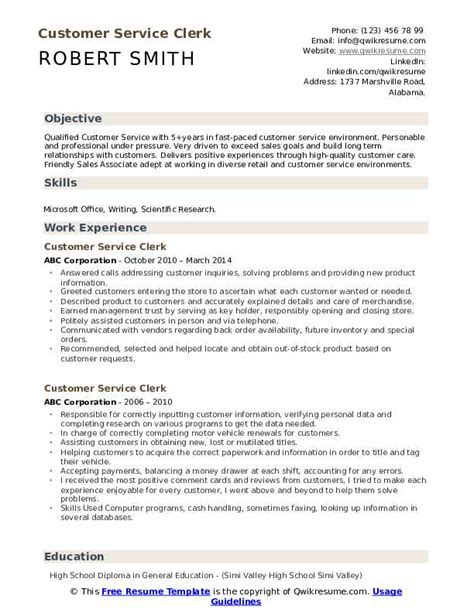 Customer Service Description Resume by Customer Service Clerk Resume Sles Qwikresume