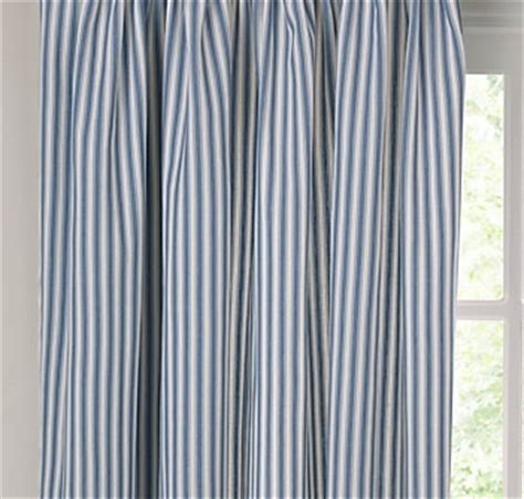 curtains ticking stripe blue and white 77 inch wide