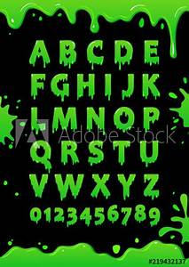 Font Of Green Slime  Blot Alphabet  Letters And Numbers