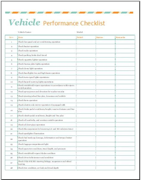 vehicle performance checklist template  excel word