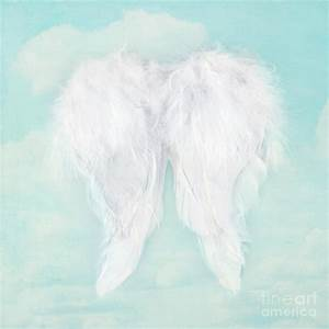 White Angel Wings On Textured Sky Background Photograph by ...