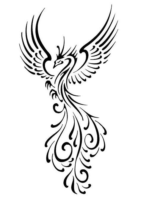 Swirly phoenix tattoo design
