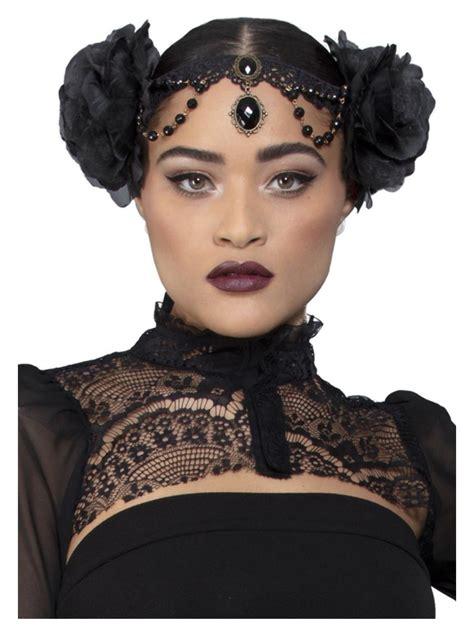 Fever Deluxe Rose Embellished Headpiece Ladies Halloween ...