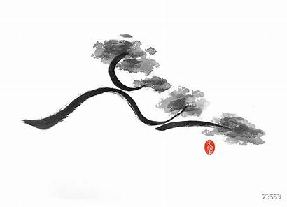 Sumi Branch Japanese Tree Painting Curvy Redbubble