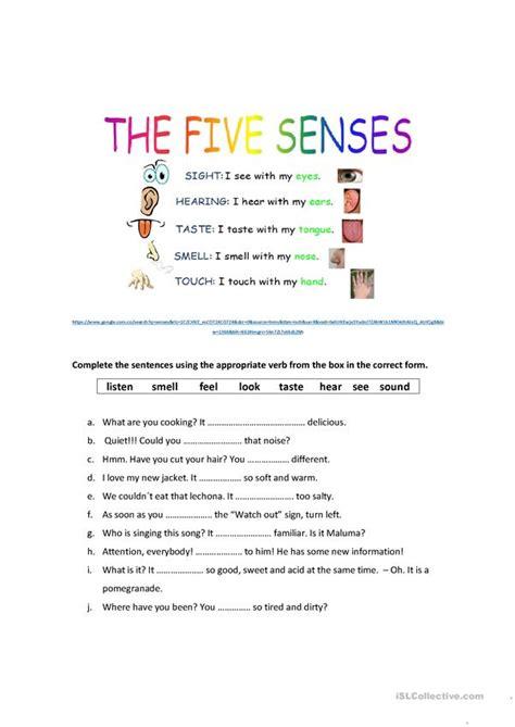 senses worksheet  esl printable worksheets