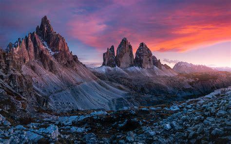 Wallpaper For Desktop by Dolomites Italу Tre Cime Di Lavaredo Sunset Landscape