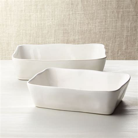Marin Rectangular White Baking Dishes   Crate and Barrel