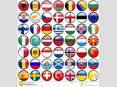 All European Flags Circle Glossy Buttons Every Button