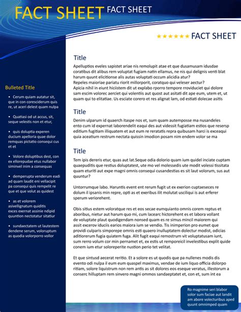 Fact Sheet Template Microsoft Word