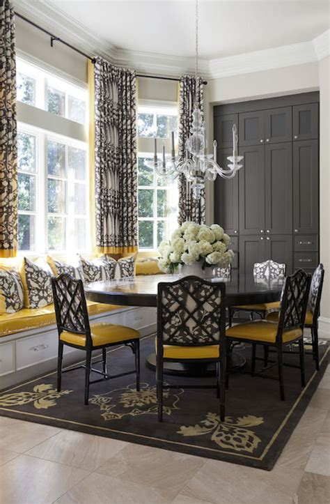 yellow  gray dining rooms transitional dining room
