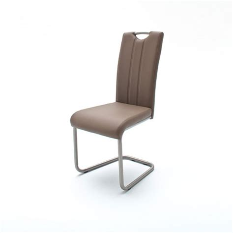 cantilever dining chair in cappuccino faux leather
