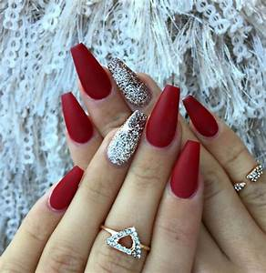 Picture Of red matte nails with a silver glitter accent ...