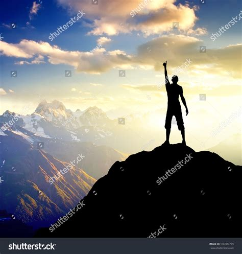 images on silhouette chion on high mountain sport stock photo 136309799 shutterstock