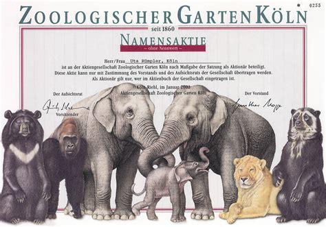 Zoologischer Garten Deichmann by Zoologischer Garten In K 246 Ln Namensaktie 2002