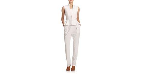 white peplum jumpsuit lyst erica peplum jumpsuit in white