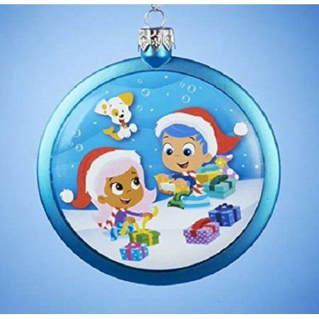bubble guppies christmas ornaments guppies gill and molly opening presents disc shaped ornament walmart