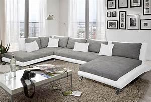 canape d39angle en pu blanc et tissu gris duccio 2 salon With canape gris moderne