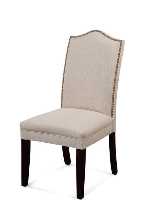 parsons dining chairs with nailheads camelback nailhead parsons chair linen finish