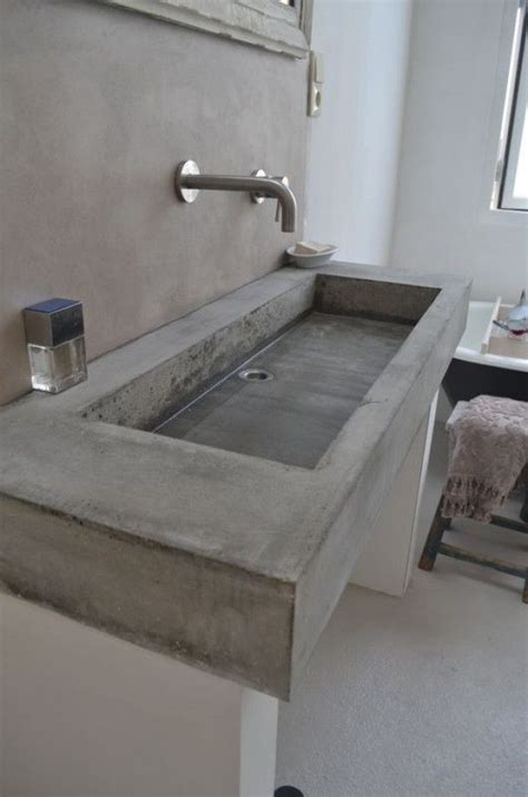 concrete bathroom sink diy rectangular concrete sink with wall mounted faucet