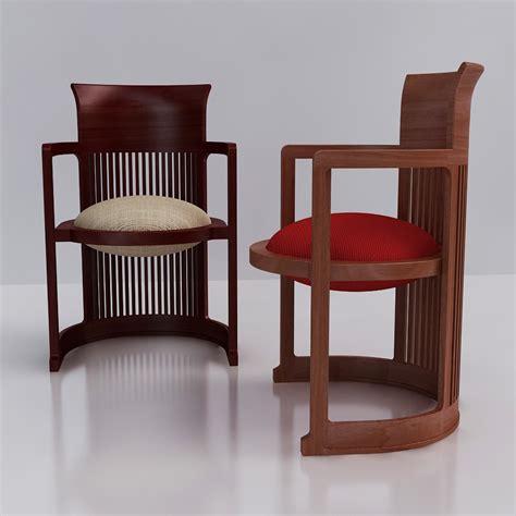 3d frank lloyd wright barrel chair high quality 3d models