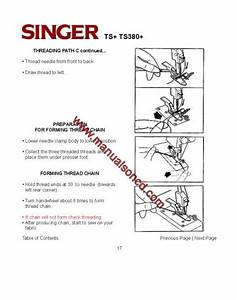 Singer Ts  Ts380  Sewing Machine Instruction Manual