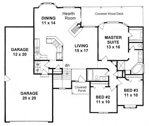 plan   bedroom ranch  vaulted ceilings tandem  car garage
