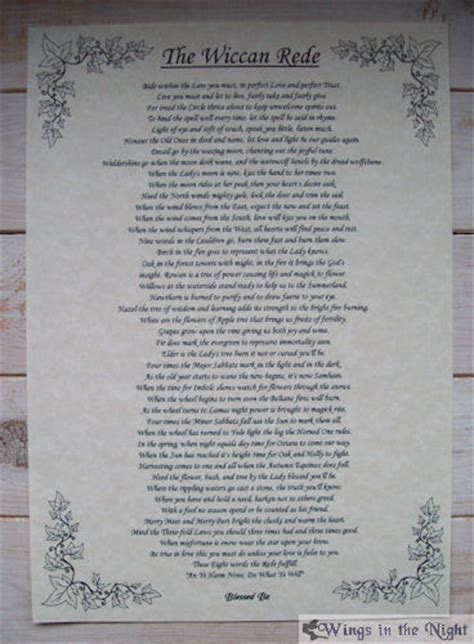 The Wiccan Rede Full Version A4 Parchment Poster Interiors Inside Ideas Interiors design about Everything [magnanprojects.com]