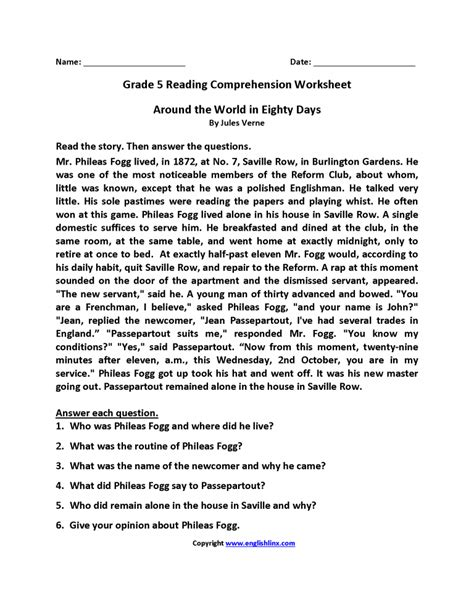 free comprehension passages for grade 5 with questions and
