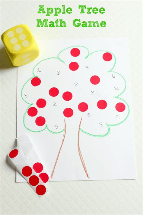 apple tree roll and cover math 448 | Apple Tree Math Game for Preschoolers 1