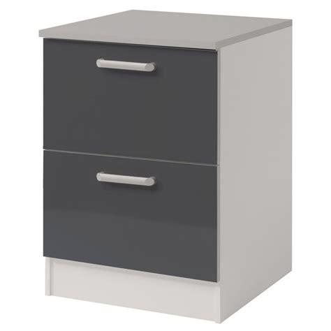 meuble bas cuisine gris meuble bas 2 tiroirs 60 cm quot shiny quot gris