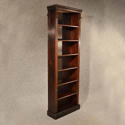 Antique Oak Tall Bookcase Narrow Library Cabinet ...