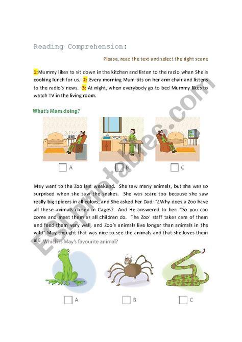 reading comprehension  images esl worksheet
