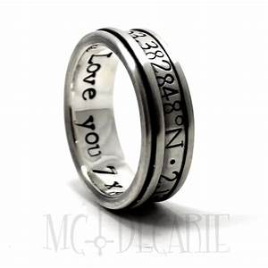 spinner ring 9 mm 4mm spinner with gps location engraved With gps wedding ring